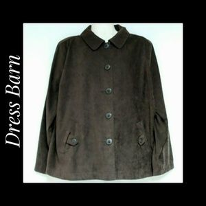 Dress Barn Dark Brown Faux Suede Blazer Size 3X